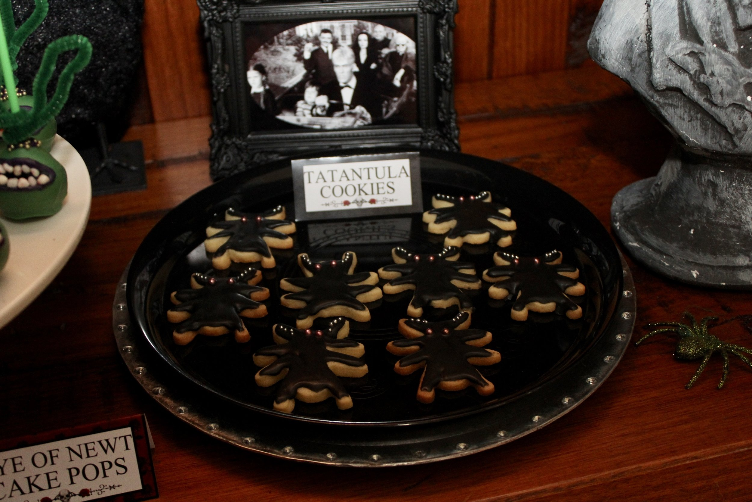The Addams Family Tarantula sugar cookies