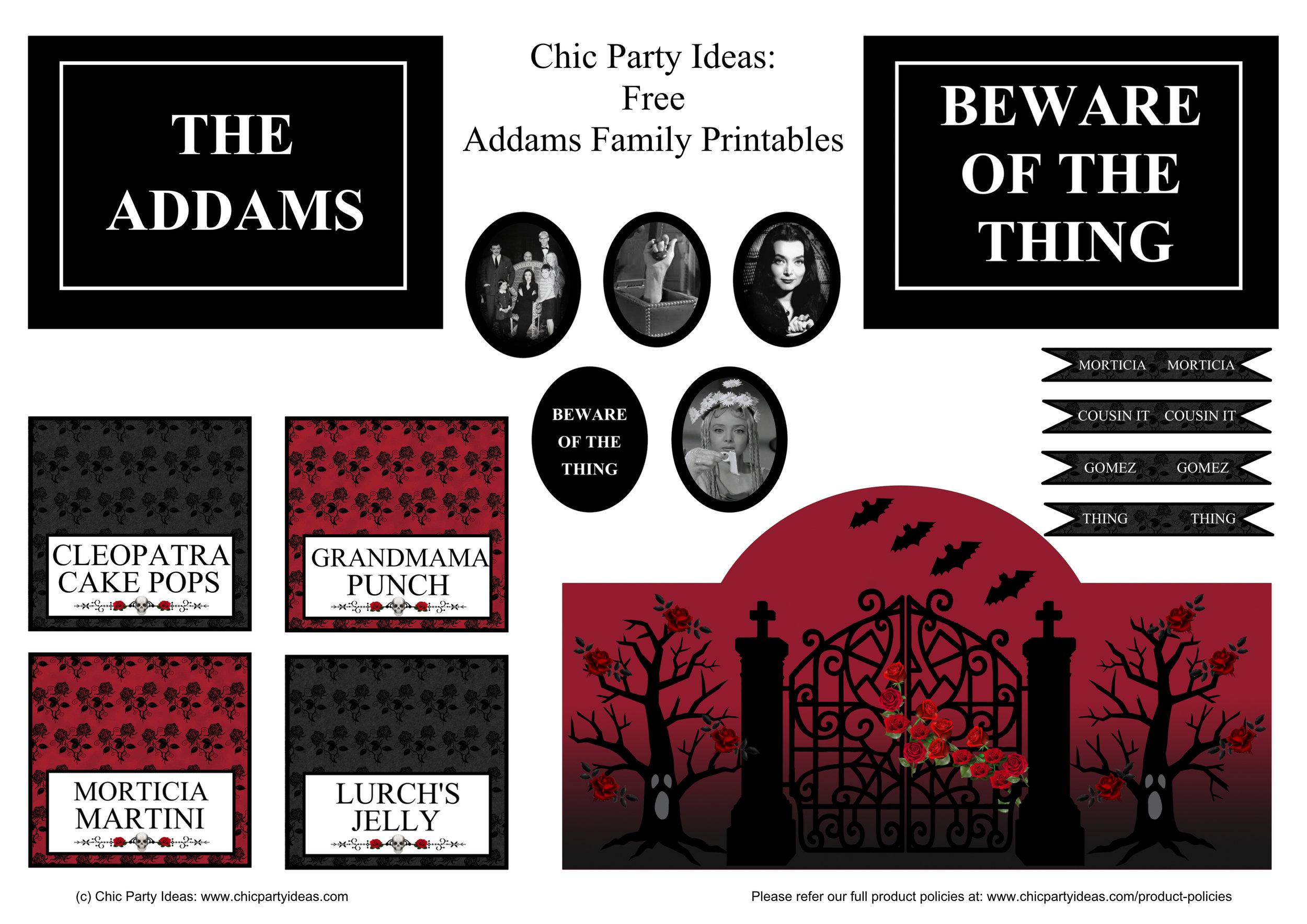 The Addams Family Free Printables - www.chicpartyideas.com.au