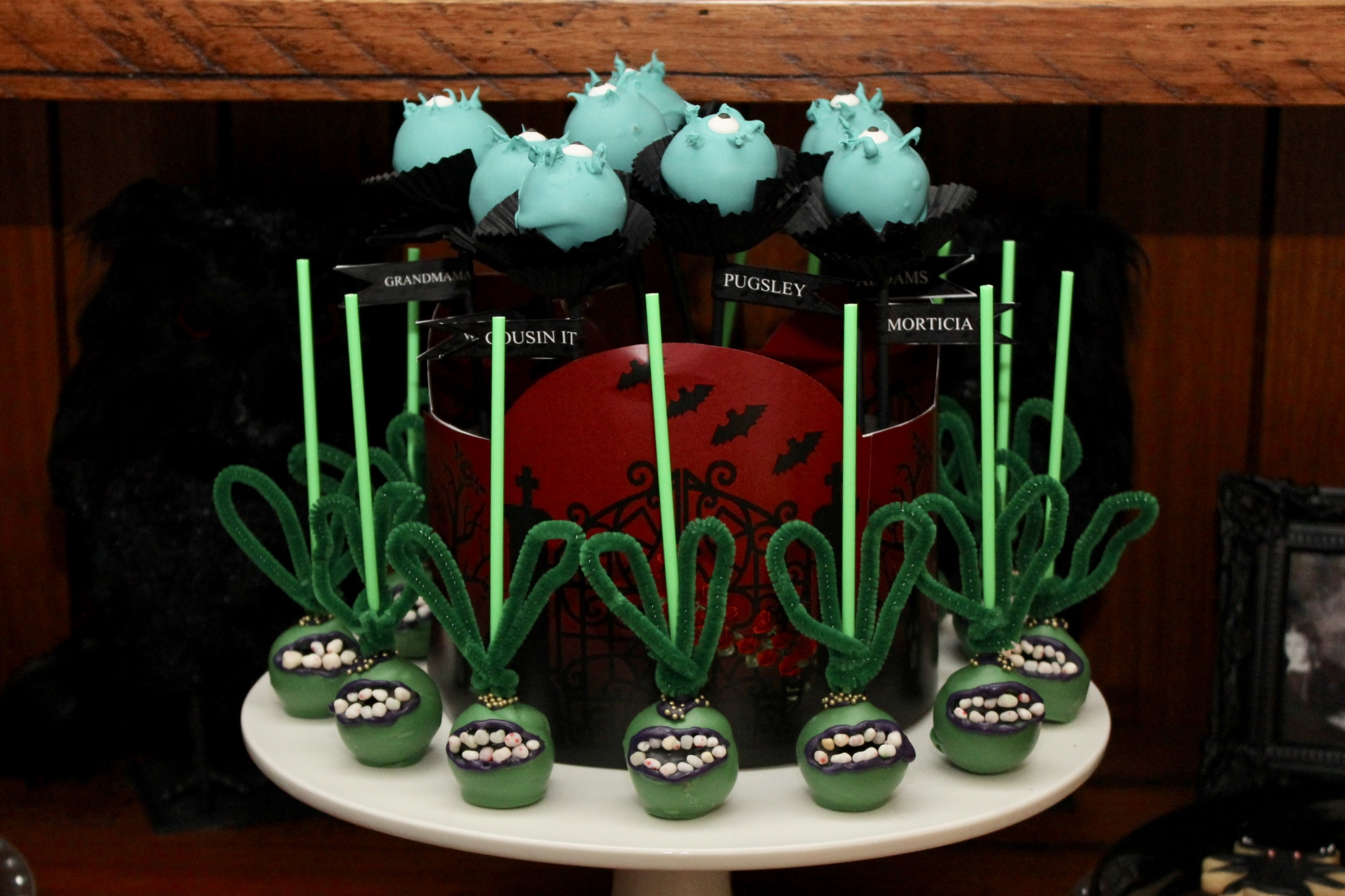 The Addams Family Cake Pops, Cleopatra the man eating plant and Eye of Newt.