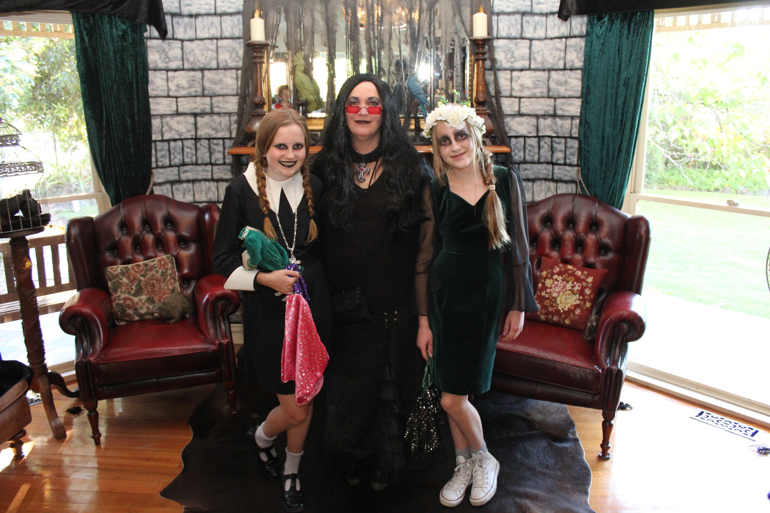 The Addams Family, Morticia, Wednesday and Ophelia