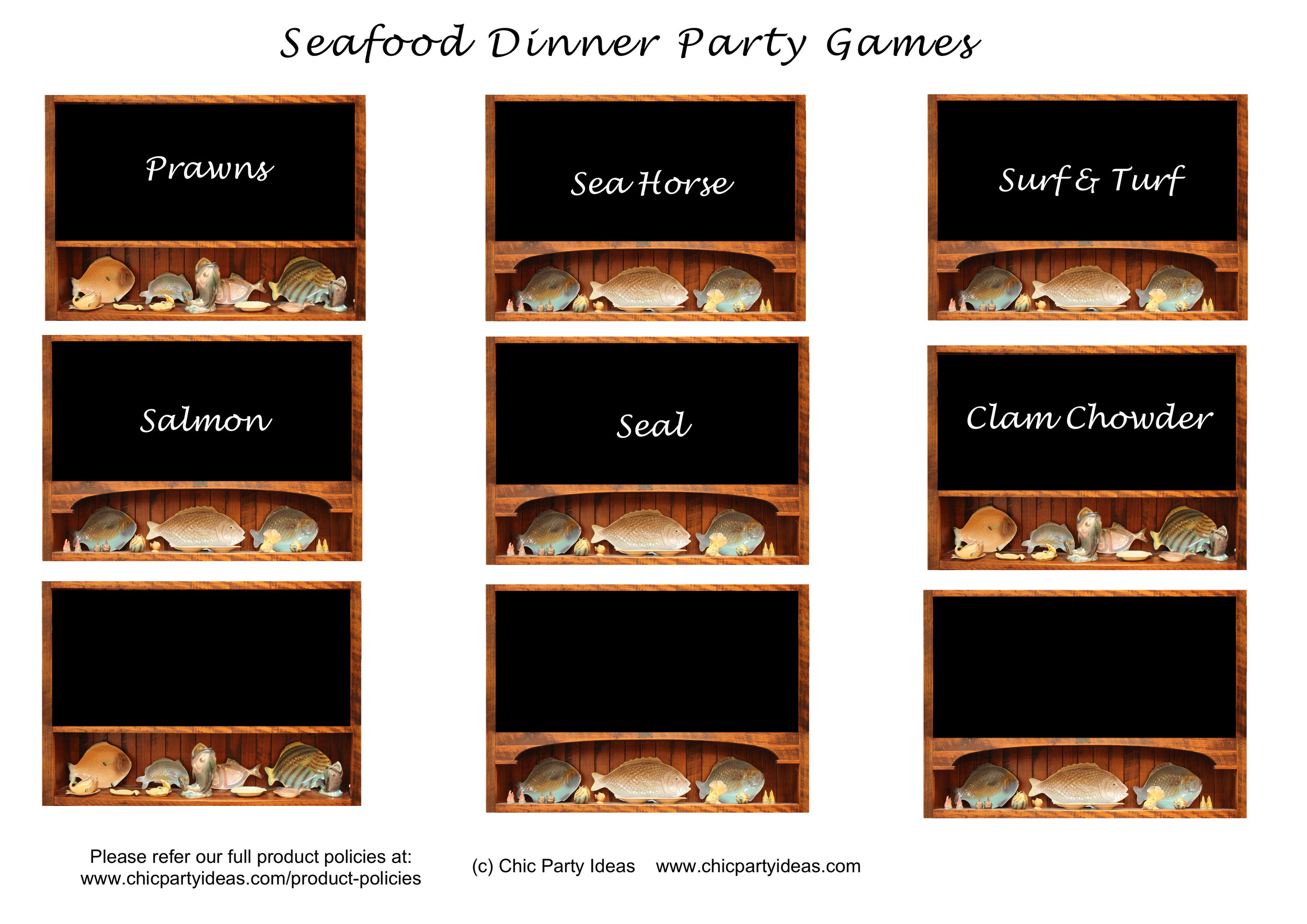 Seafood Dinner Party Game Printables