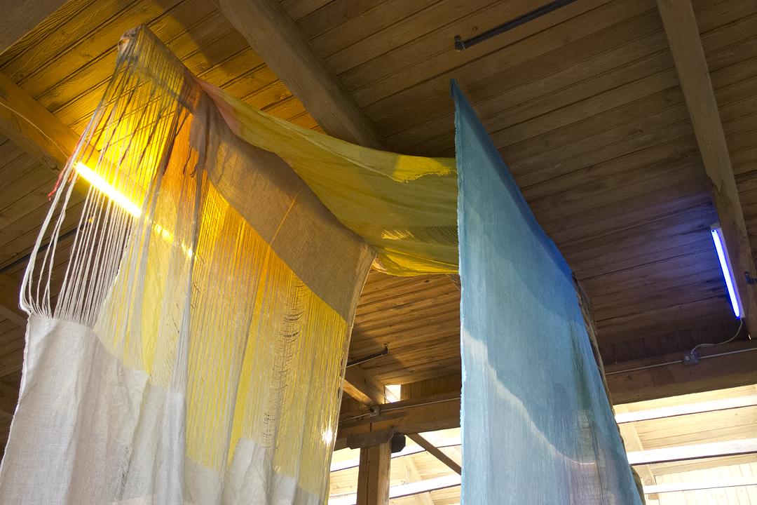 that which passes through part 2 [detail] 2013 linen, bleach, acrylic, fabric dye, spray paint, thread, fluorescent lights, & colored light gels