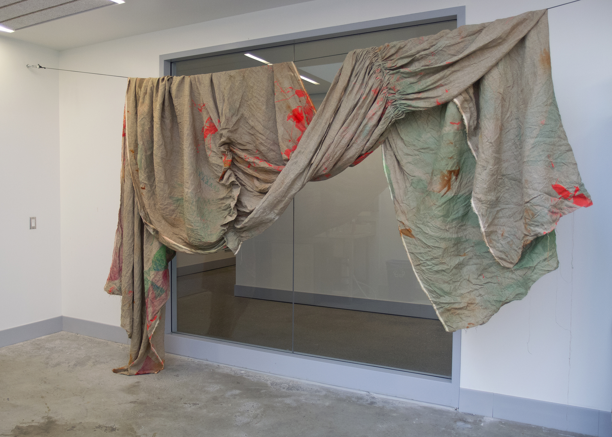 (untitled)  2012 acrylic, fabric dye, spray paint, thread, and wax on linen