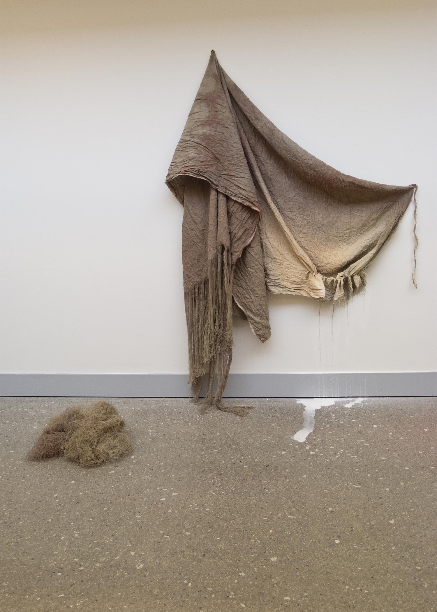 (untitled)  2012 fabric dye, bleach, gouache, and acrylic on linen