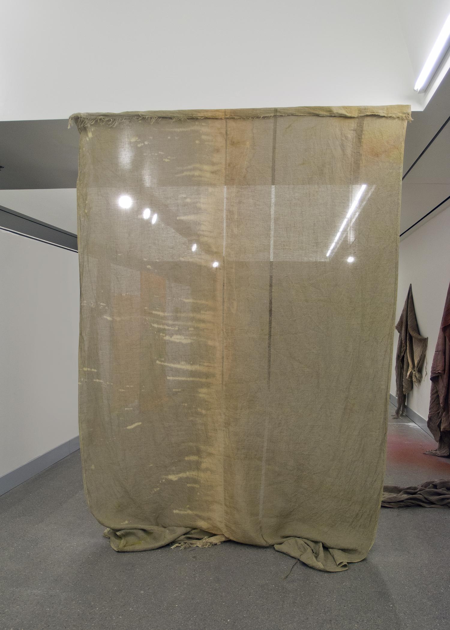 (untitled)  2012 bleach, rust, acrylic, and gouache on linen