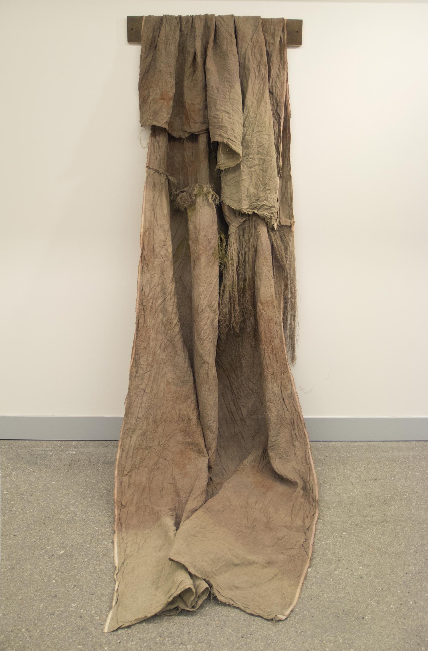 (untitled)  2012 fabric dye, acrylic, gouache, watercolor, thread on linen
