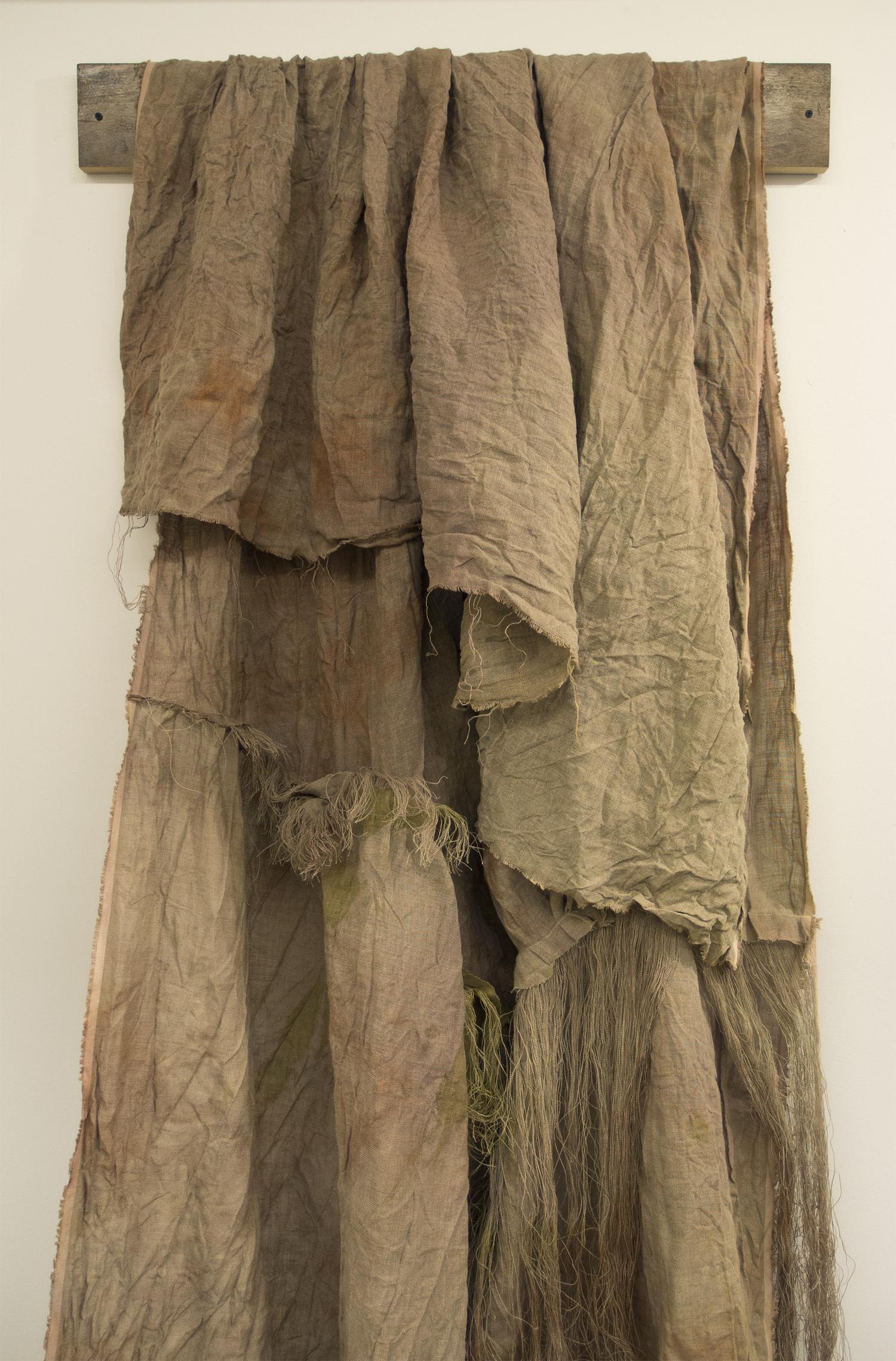 (untitled)  [detail] 2012 fabric dye, acrylic, gouache, watercolor, thread on linen