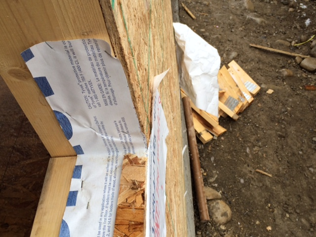 Building paper stapled to window frame - THE WRONG WAY
