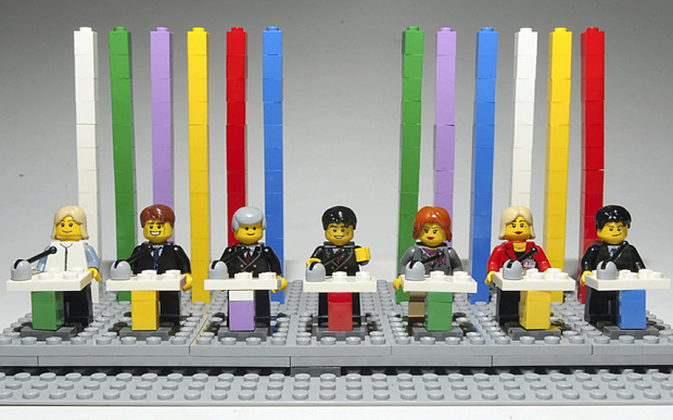 The line up (in Lego, from left): Natalie Bennett of the Green Party, Nick Clegg of the Lib Dems, Nigel Farage of Ukip, Ed Miliband of Labour, Leanne Wood of Plaid Cymru, Nicola Sturgeon of the SNP and Tory leader David Cameron     Photo: Cavendish Press / Telegraph
