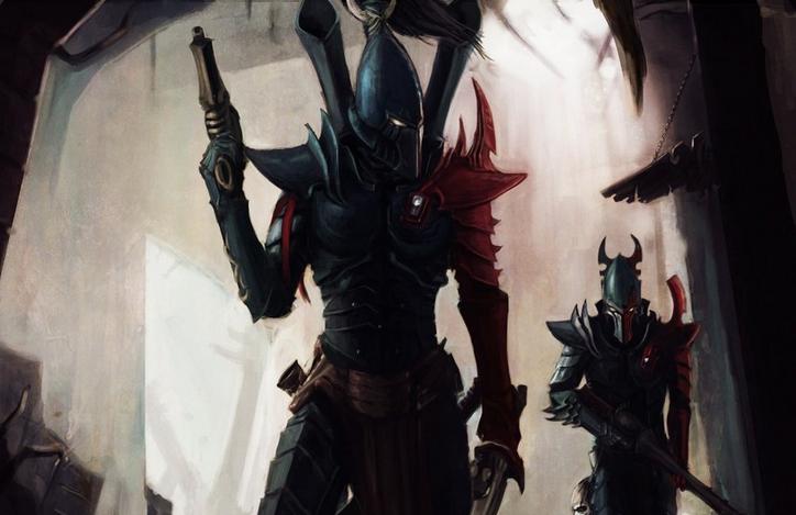 """Dark eldar warriors scour the corridors of the """" Armamentarium """" Mega Manufactorum for remaining Tyranid creatures"""
