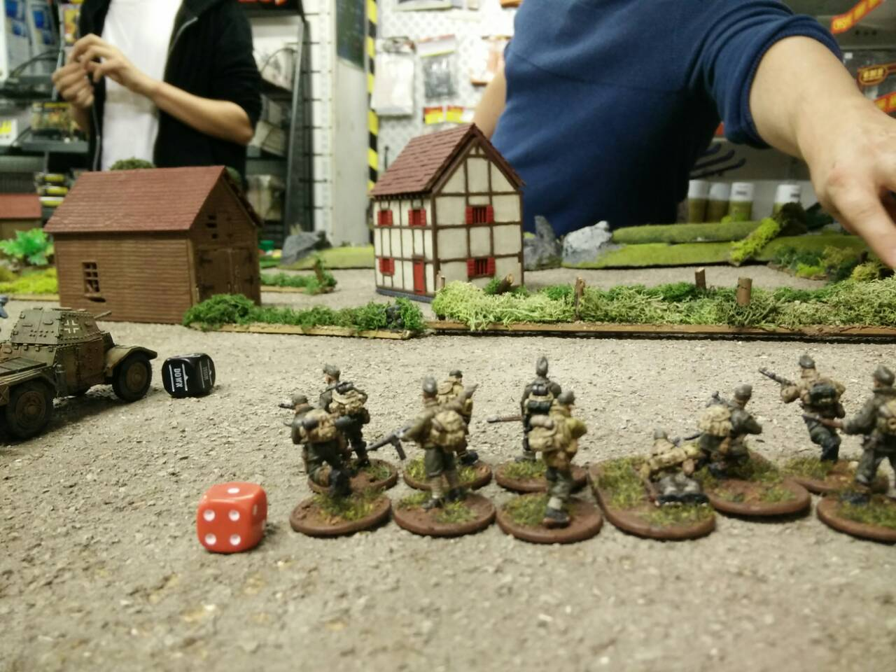 GERMANs advance on the farmstead before the bombs began to fall…