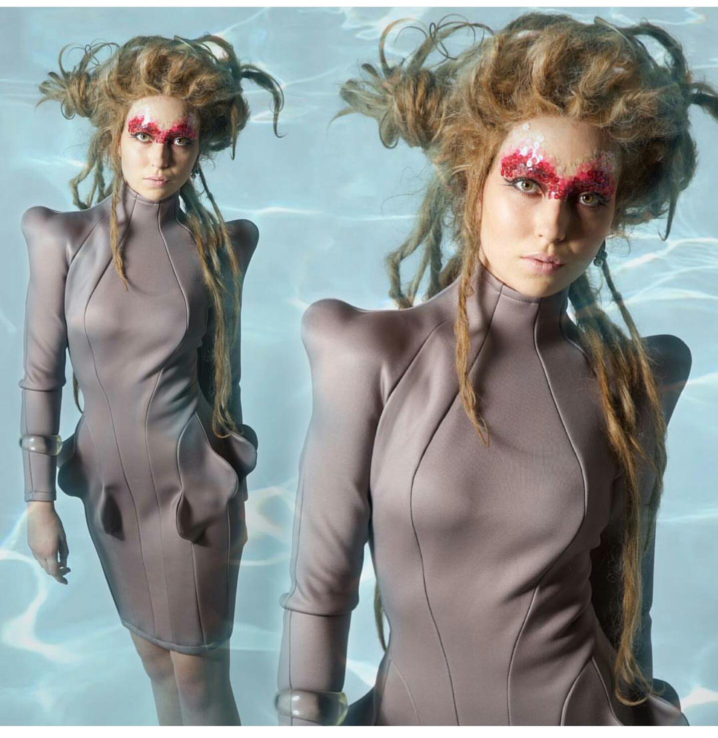 @geoffreymac  ・・・  Fulfill your fishy fantasy with the new Squid Dress by  #GeoffreyMac  . Check out the full FW16  #Sonar  Lookbook now at geoffreymac.com👏🏽🐙👏🏽 Lookbook photos by:  @jordankleinman  hair by:  #wigbar  and  @lpgdino  makeup by  @setsukotate  model:  @blab_le_bla  Produced by  @leblondnyc  #geoffreymac  #sonar  #lookbook  #womenswear  #menswear  #newcollection  #underwater  #mermaid  #godeep  #servingfish  #fw16  #brooklyndesigner  #editorial  #fashion  #nyfw  #neoprene  #dreadlockwig    #wigs