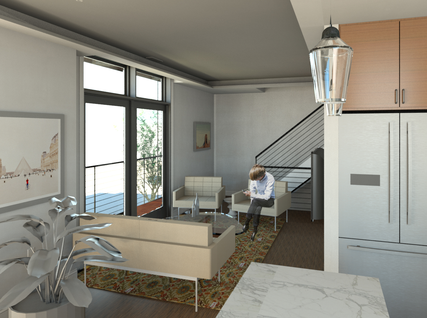 View from Kitchen to Living and Stair in Upper Unit
