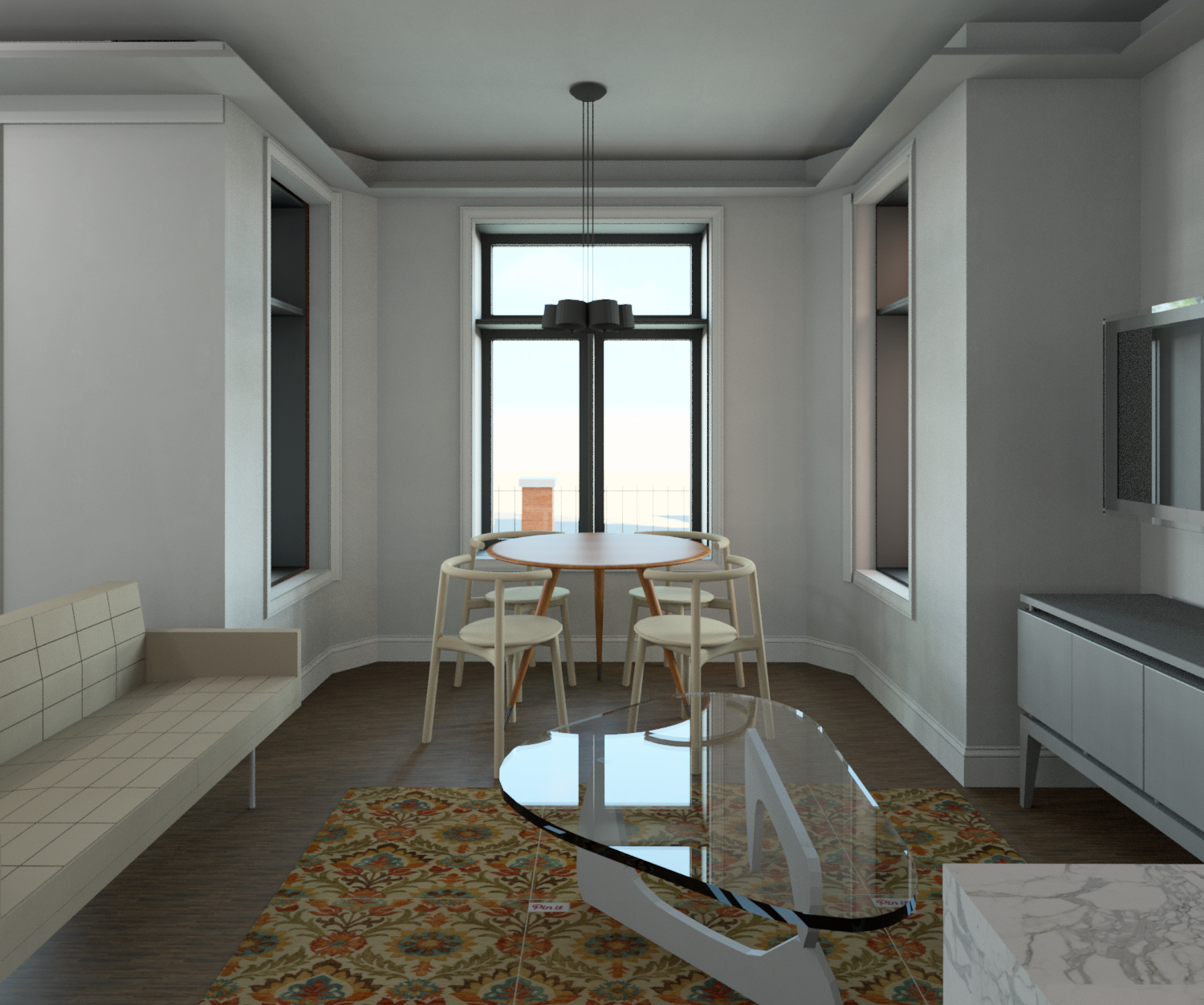 View from Kitchen to Living and Dining area in Lower Unit