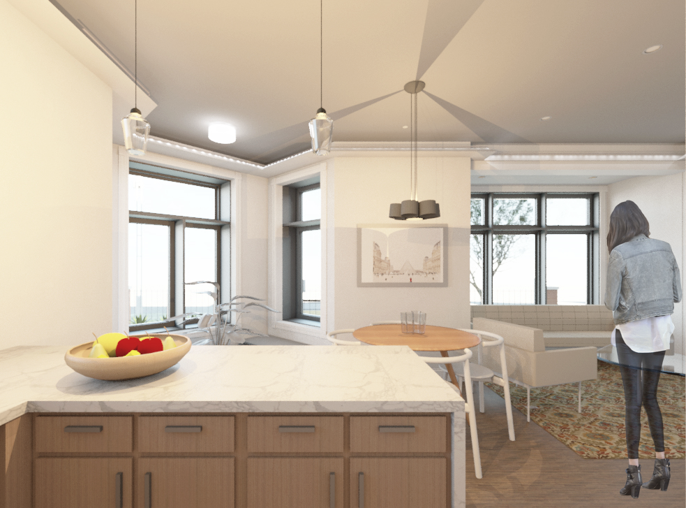 View from Kitchen to Entry, Dining and Living areas in Lower Unit