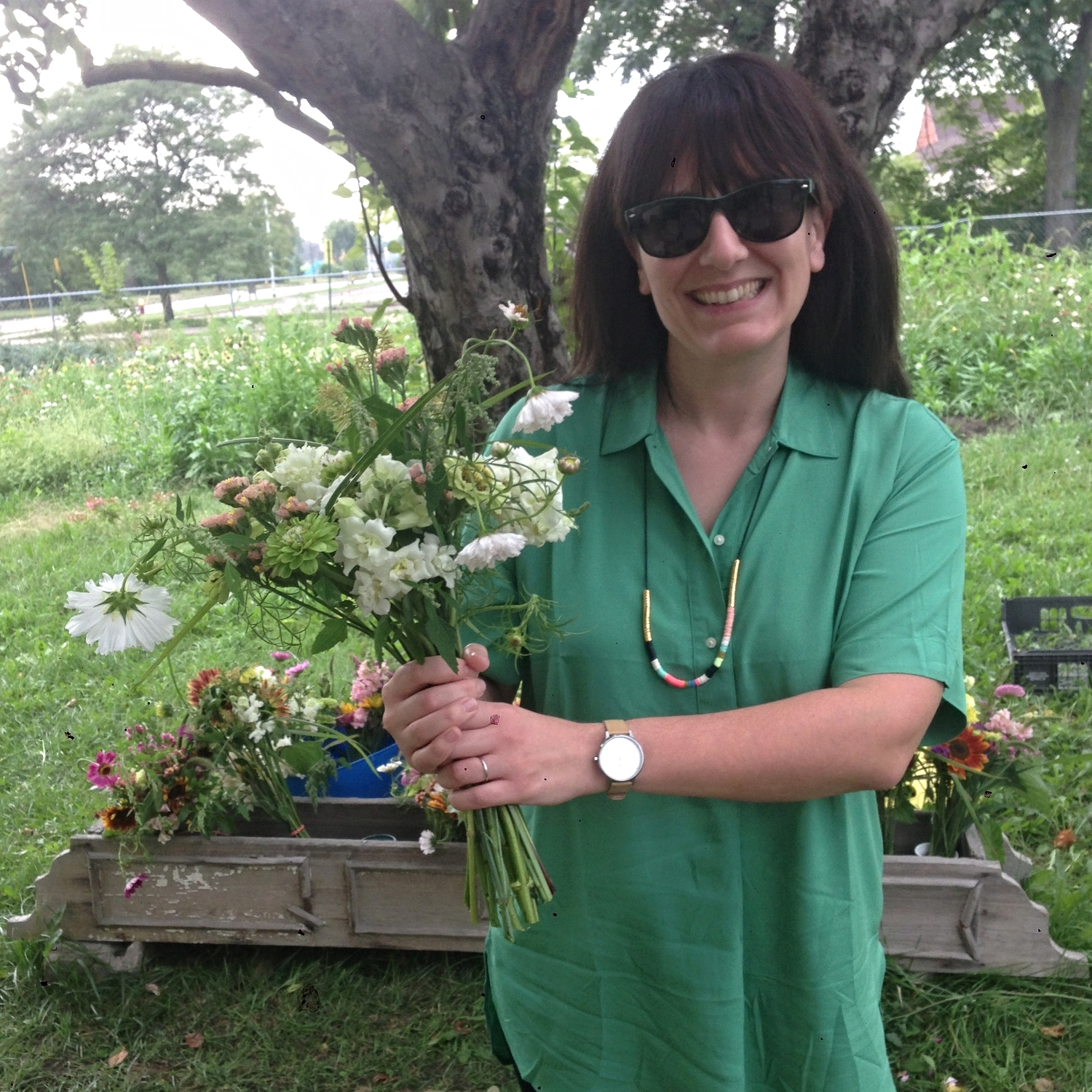 Color coordinated customer Lish has her bouquets for next spring secured.