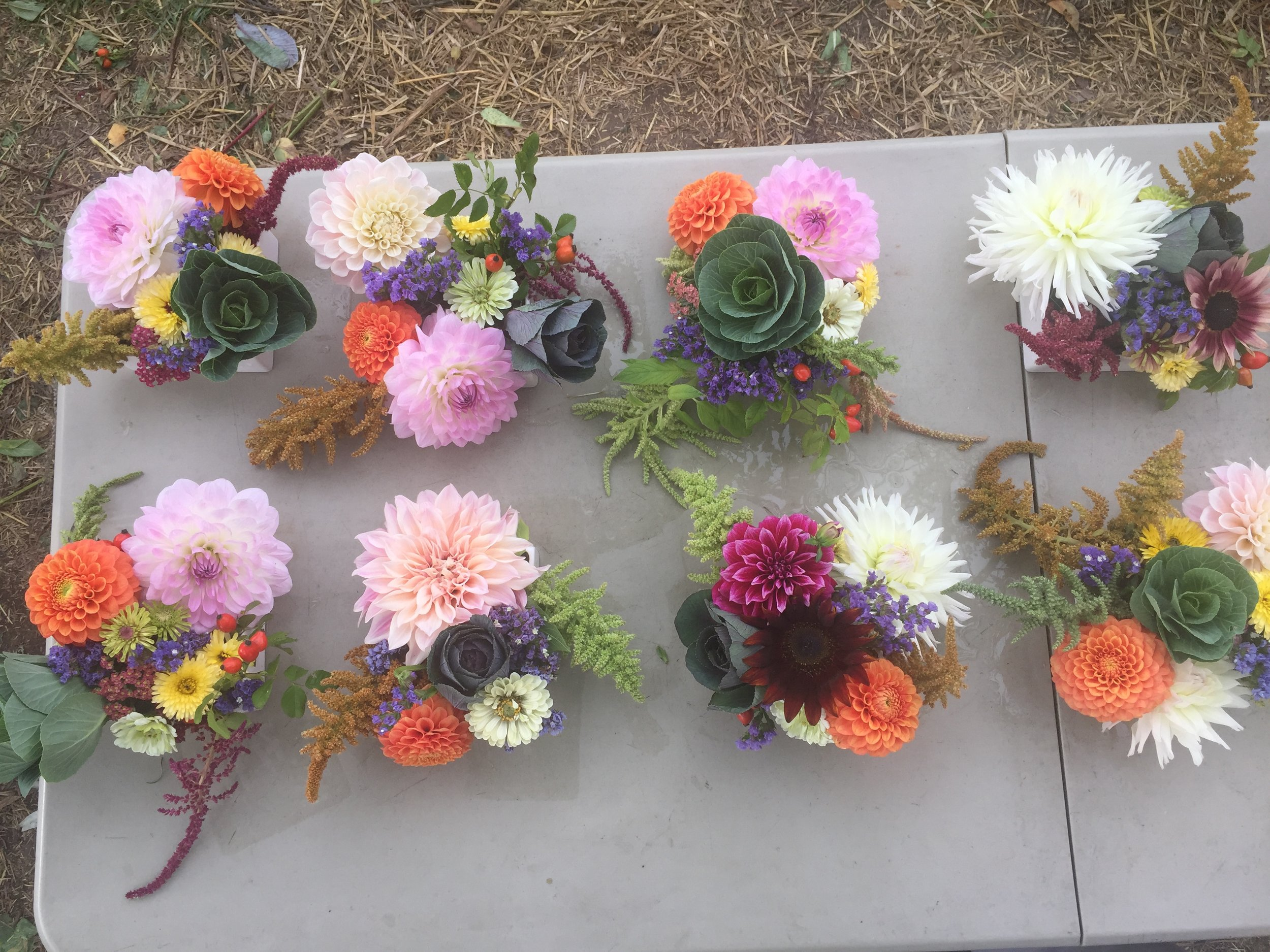 Classy centerpieces for a recent wedding, featuring luscious dahlias from Summer Dreams Farm in Oxford MI (they ONLY grow dahlias).