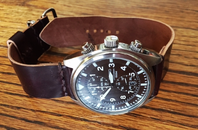 A Seiko military style chronograph on No. 8 two-piece.