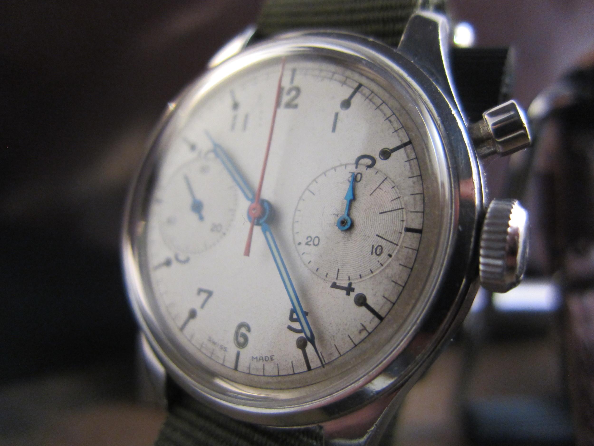 Rodania RCAF one button chronograph.