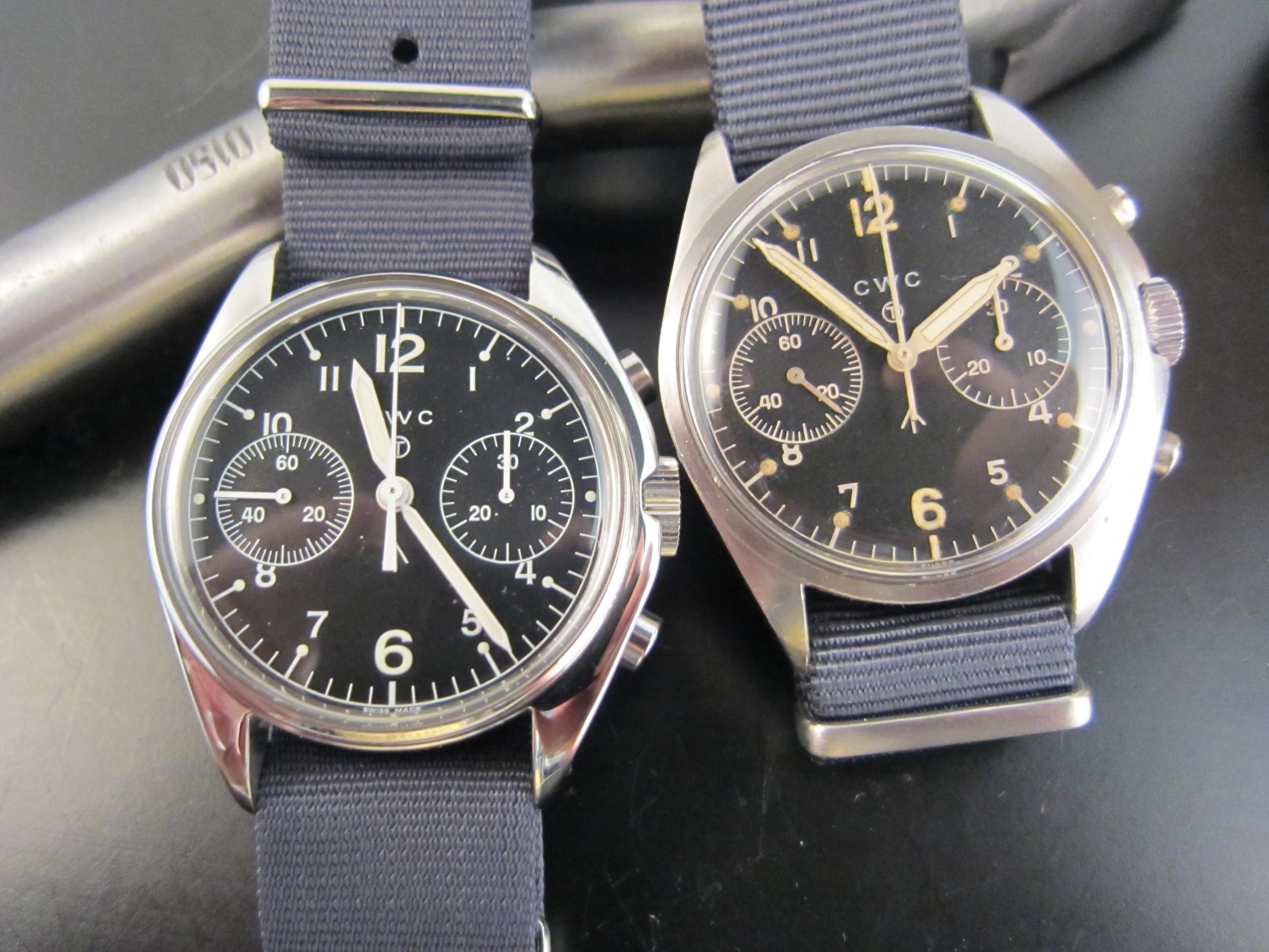 CWC RAF chronographs, re-made and original.