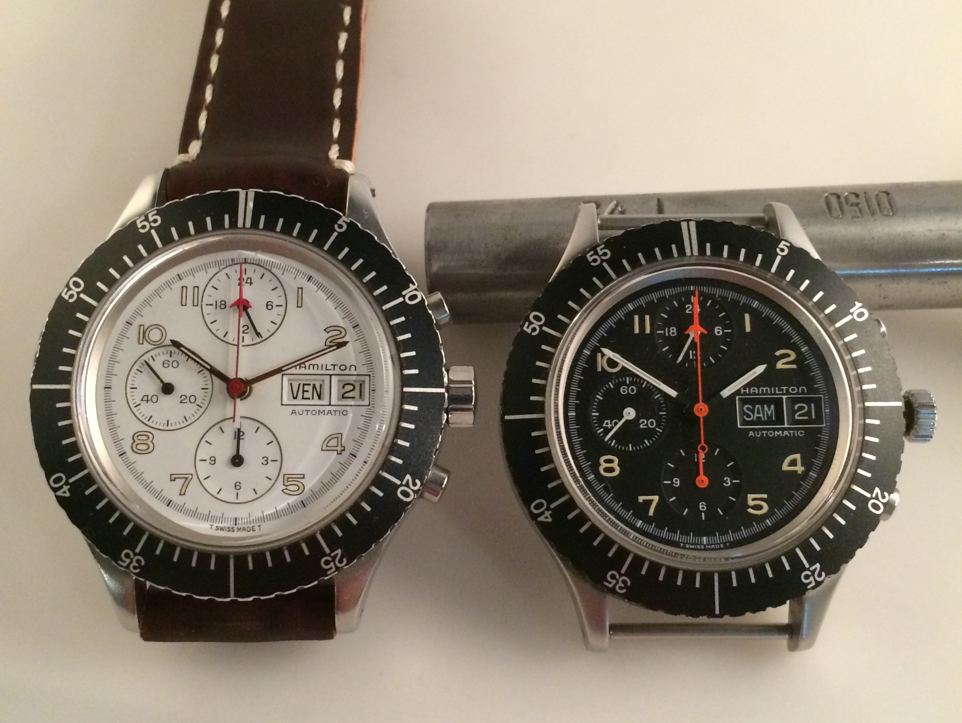 Hamilton Lemania 5100 chronographs.