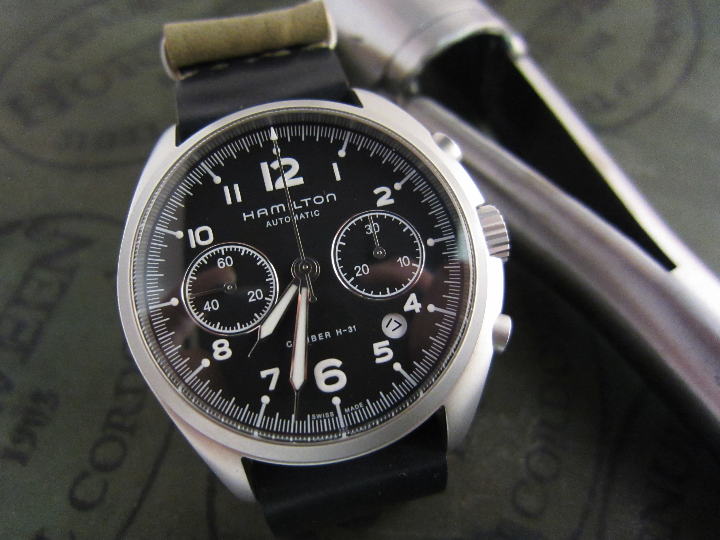 The black-dialed Hamilton chronograph, which did not find a permanent home at Rover Haven.