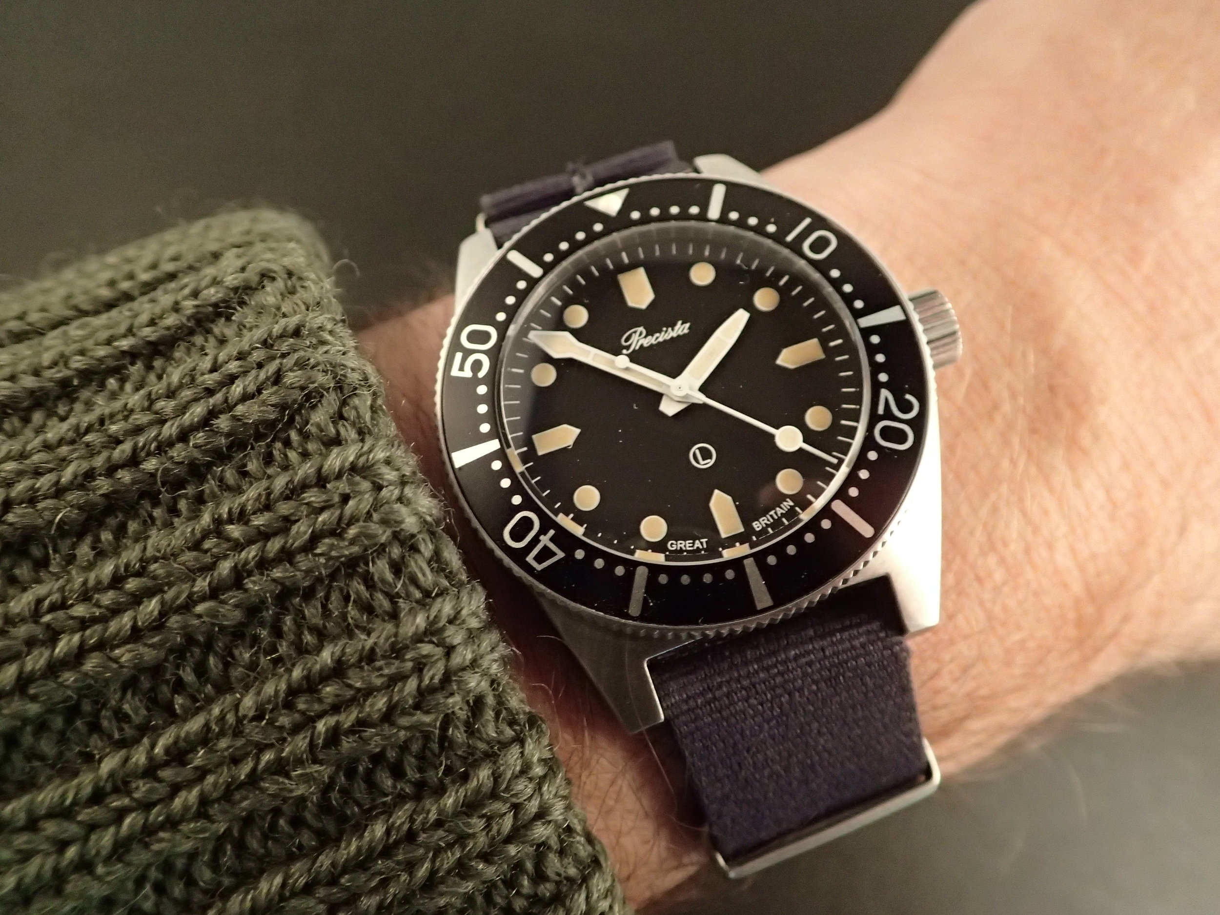 Precista PRS-82 with its circle L.  Here is the watch to wear with your North Sea Clothing sweater.