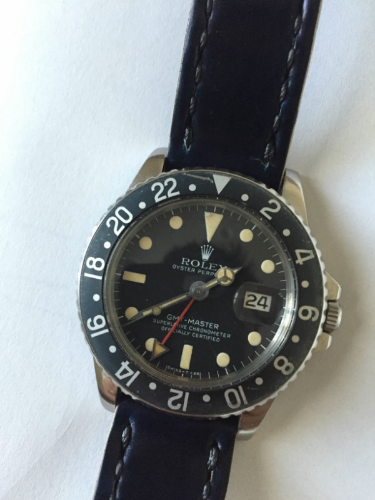 Vintage GMT Master on Navy Arts & Crafts with black stitch.
