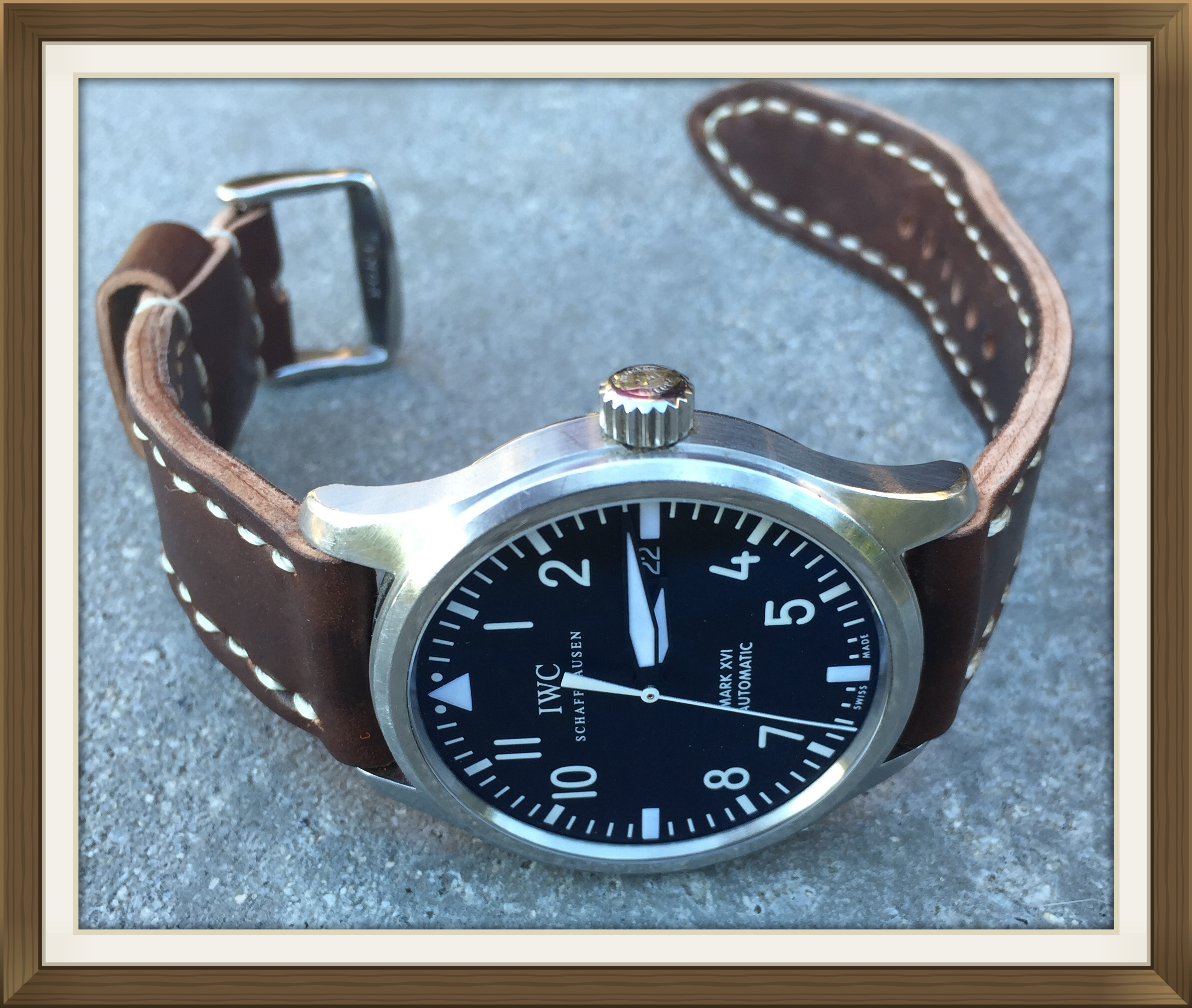 IWC Mk XVI Flieger on Cognac Arts & Crafts.