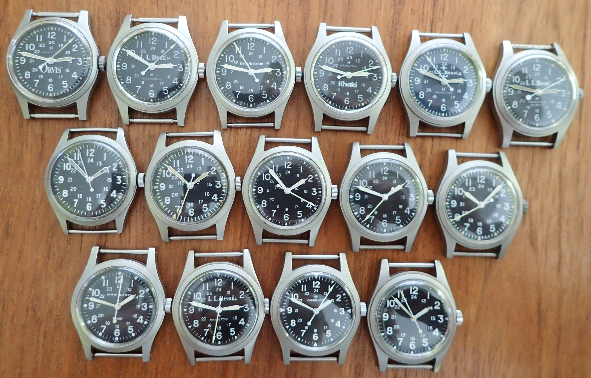 Top row:  case reference 9219.  Middle row: military-issued.  Bottom row: case reference 9415.  All of these watches are unique; there are no redundant examples.