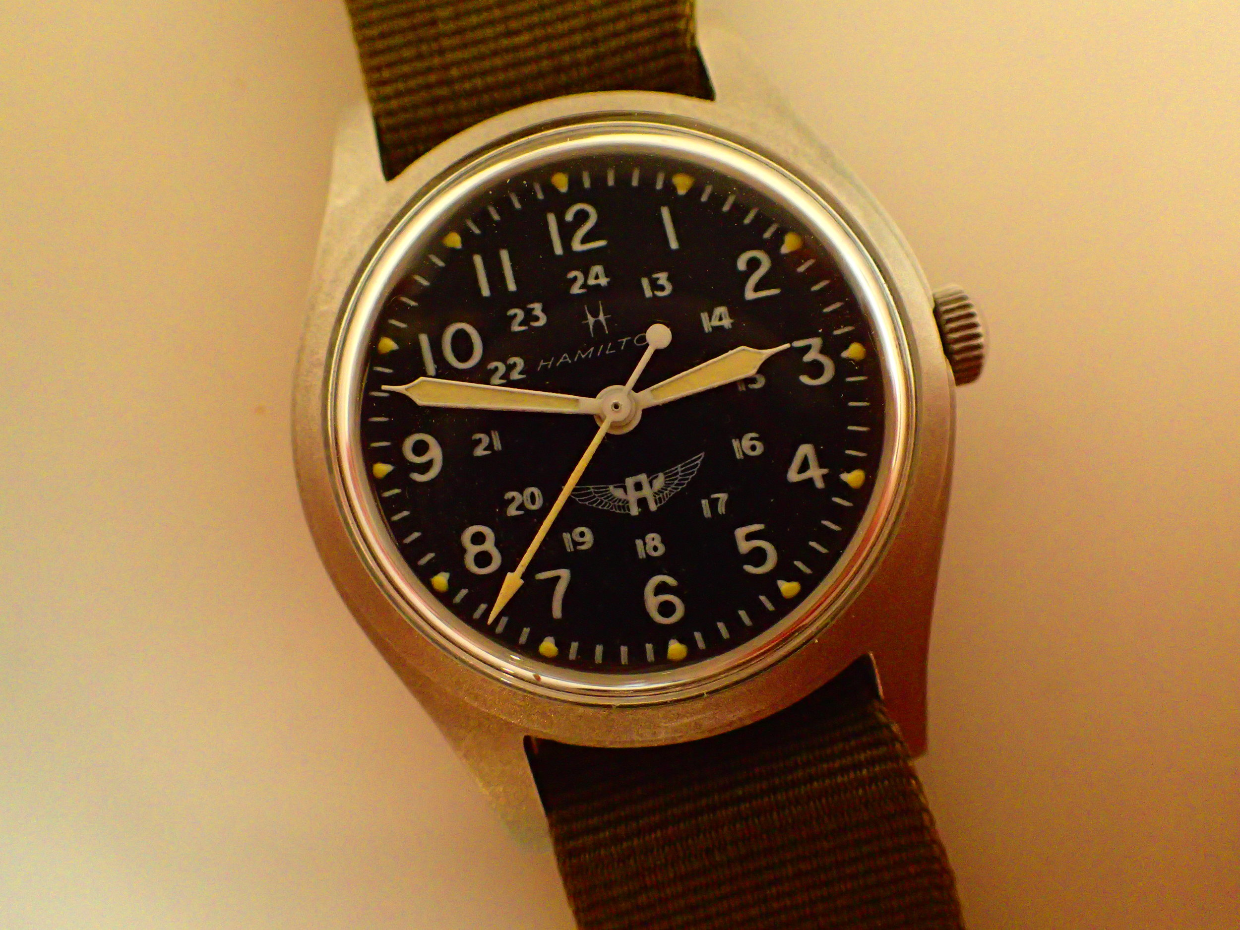The Avirex-branded Hamilton 9219. The winged A logo is a favorite of mine.