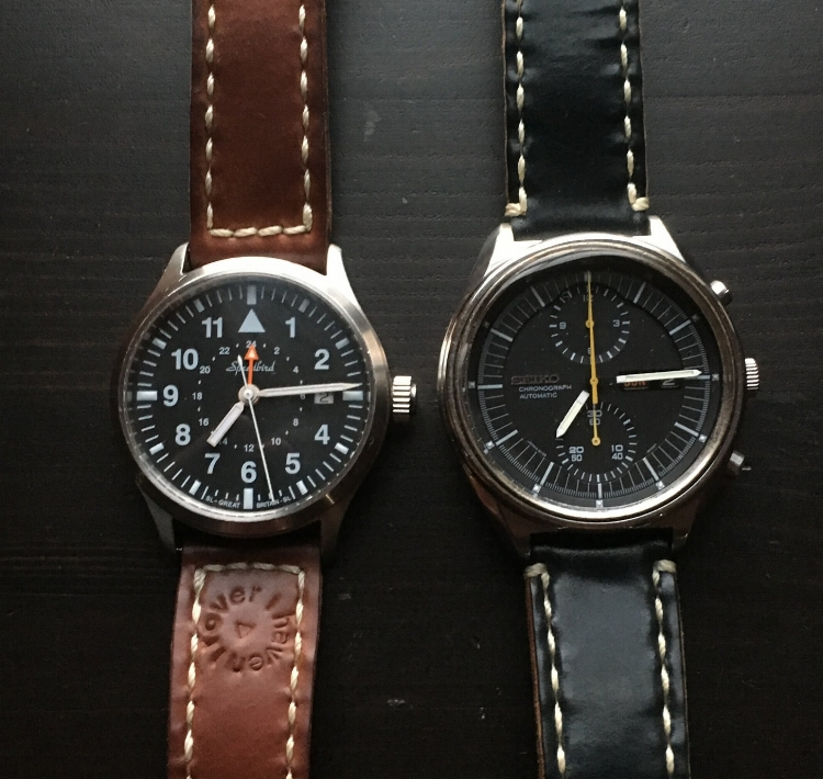 Speedbird III GMT and a sweet Seiko 6138 Jumbo on well-loved Arts & Crafts straps!