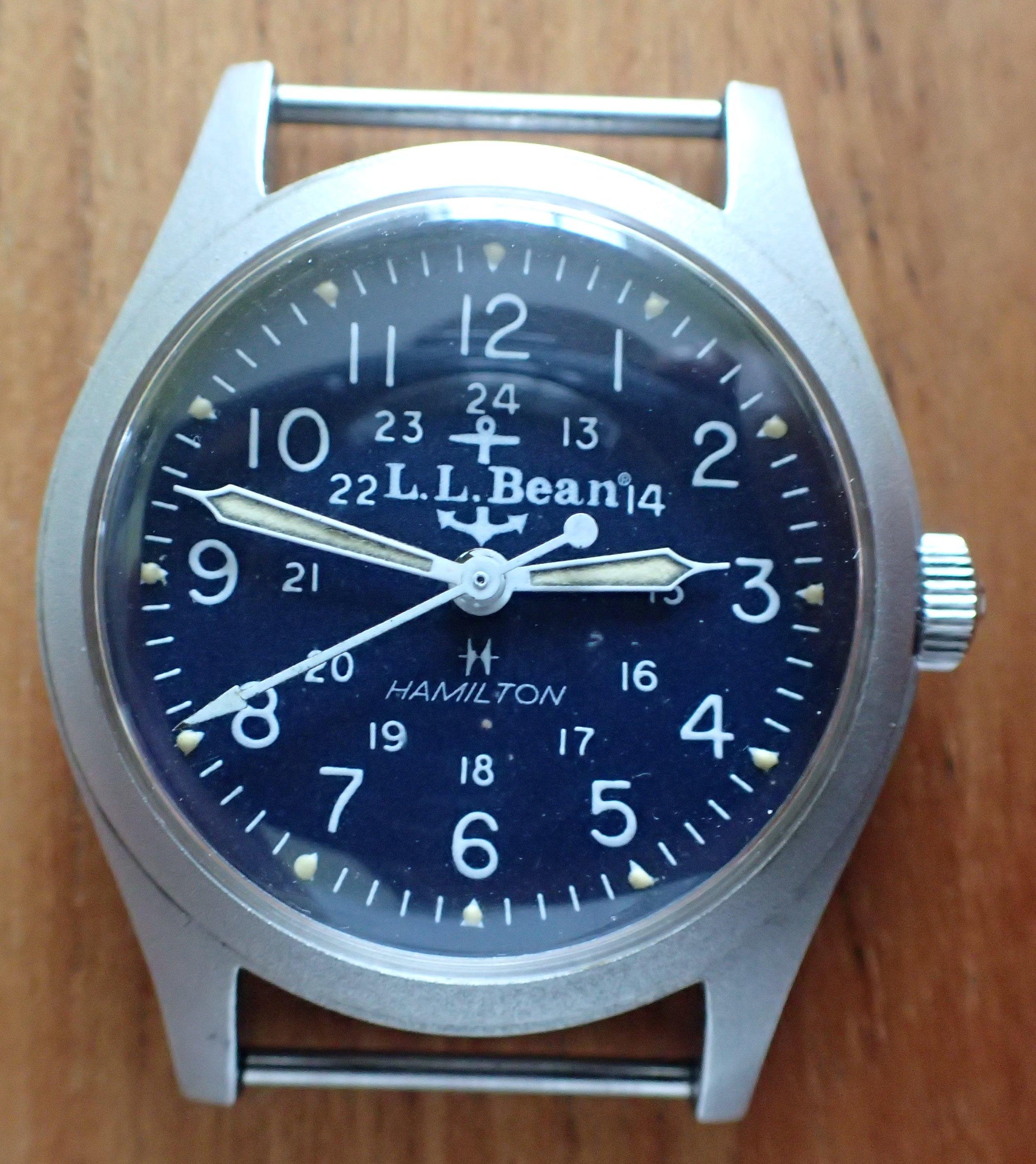 The Hamilton 9219 LL Bean blue anchor-dialed watch.