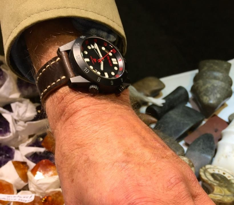Resco Red Circle GMT on a No 8 Arts & Crafts. Not a watch you see everyday!
