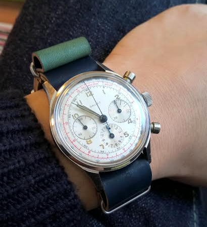 Gorgeous Gallet chronograph on Green MIL strap. This strap made two journeys between the US and Japan before it was delivered to a happy owner!