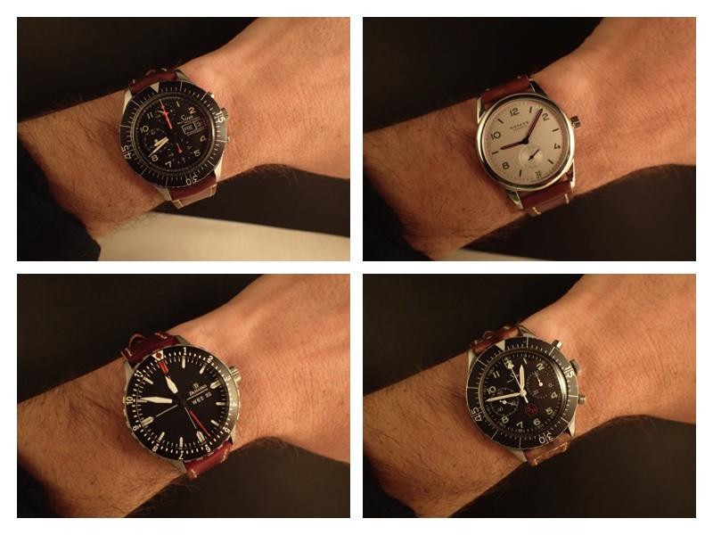 Clockwise from upper left, Sinn 156, Nomos Club Datum (38), Heuer 1550 SG, Damasko DA44.