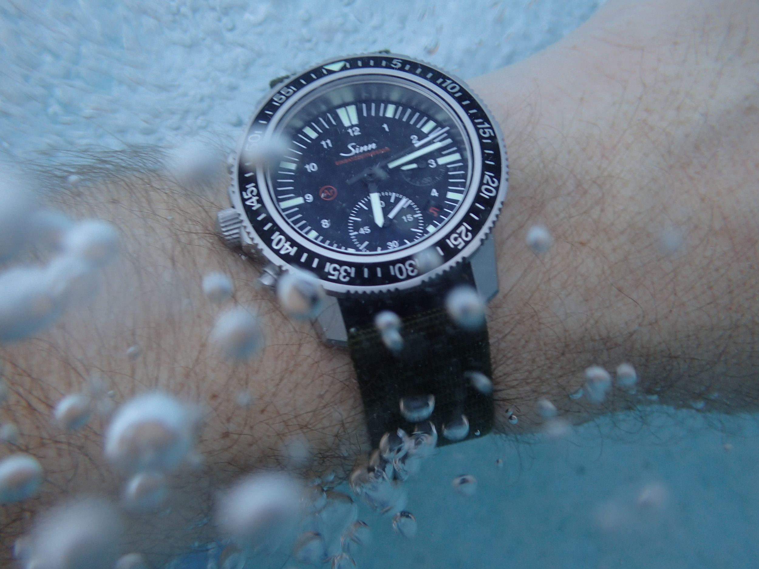 And unlike just about any other chronograph, even dive-rated watches, the EZM 13's pushers can be used under water to a depth of about 15 feet.