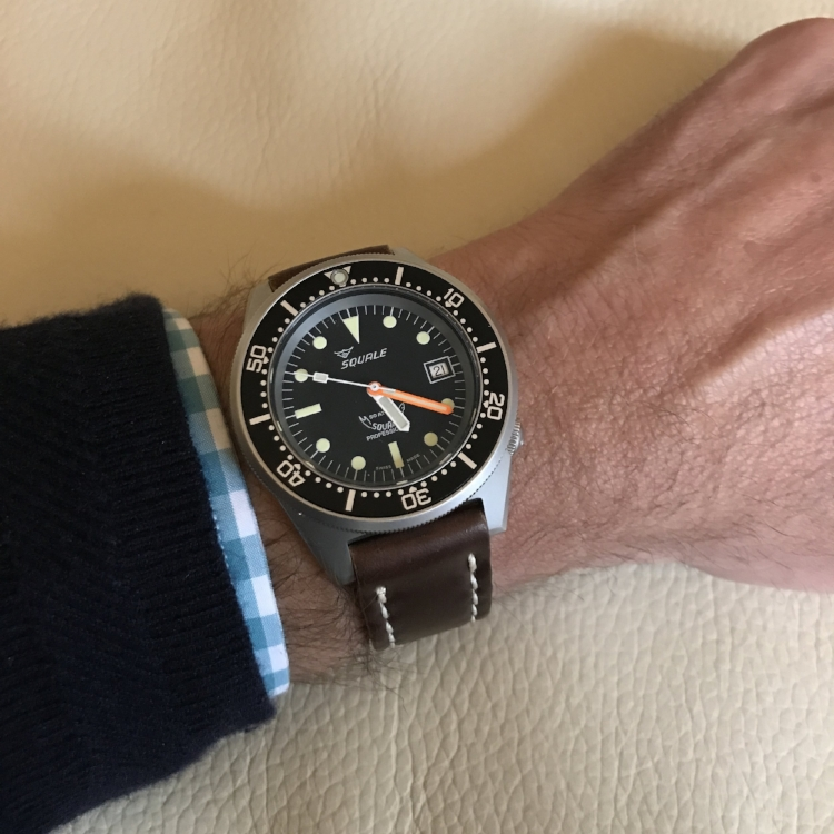 Squale 50 Atmos Diver on Cognac Arts & Crafts. Classy value.