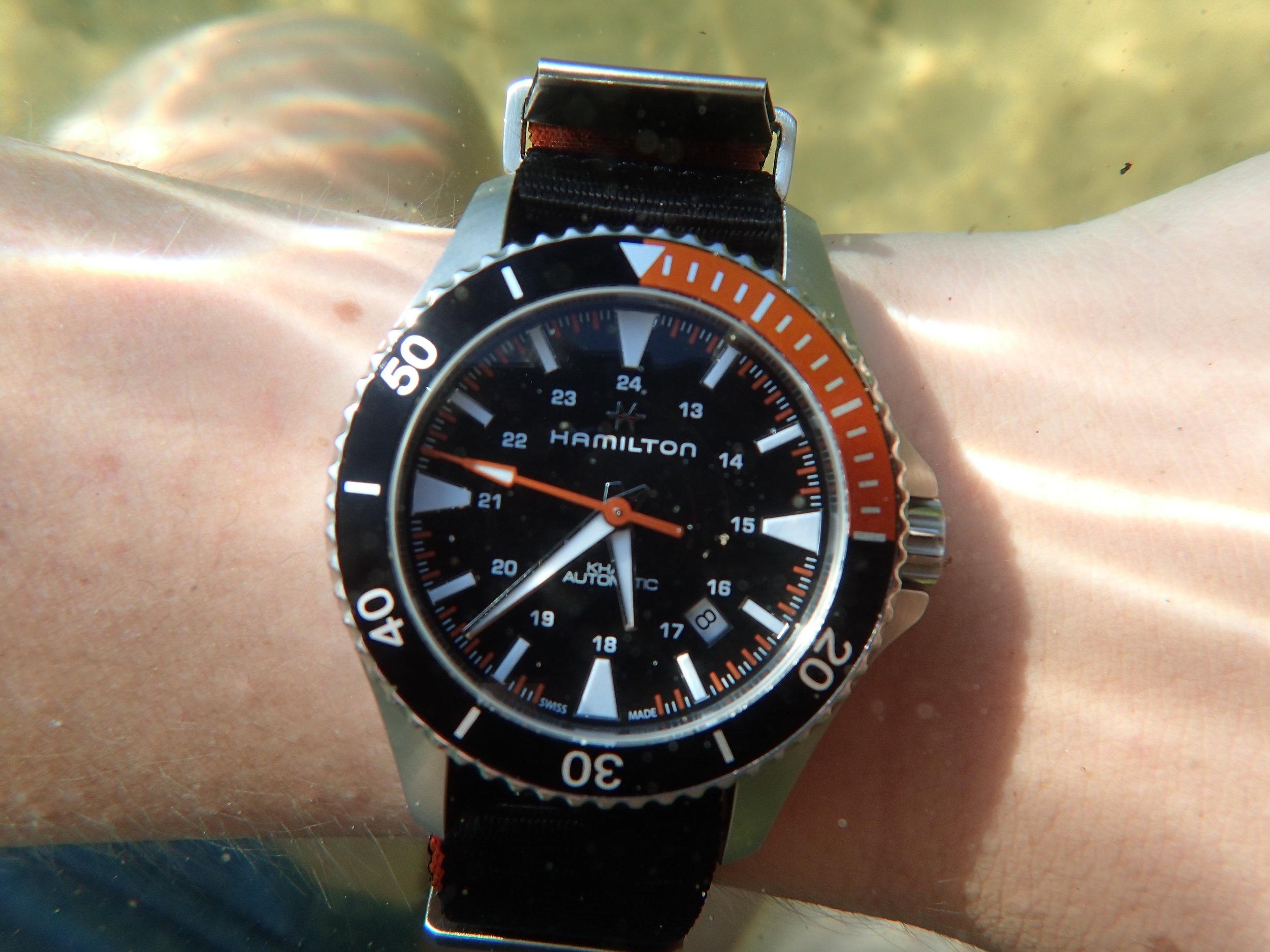The Hamilton Khaki Scuba underwater. 100 meters of WR is plenty for most folks.