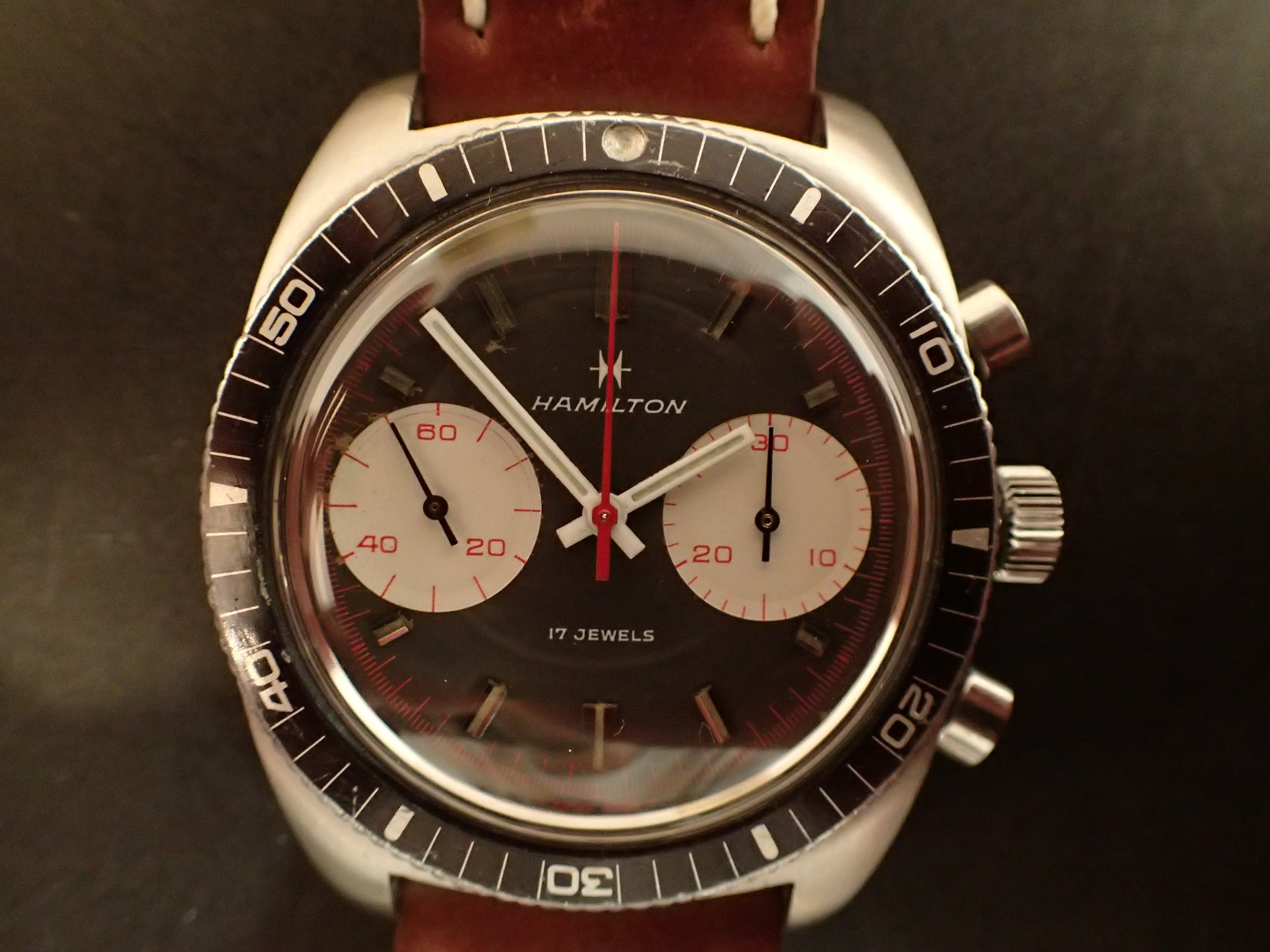 The Hamilton Chrono-Diver with Valjoux 7733. The lume pip is long gone from this one, a common malady.