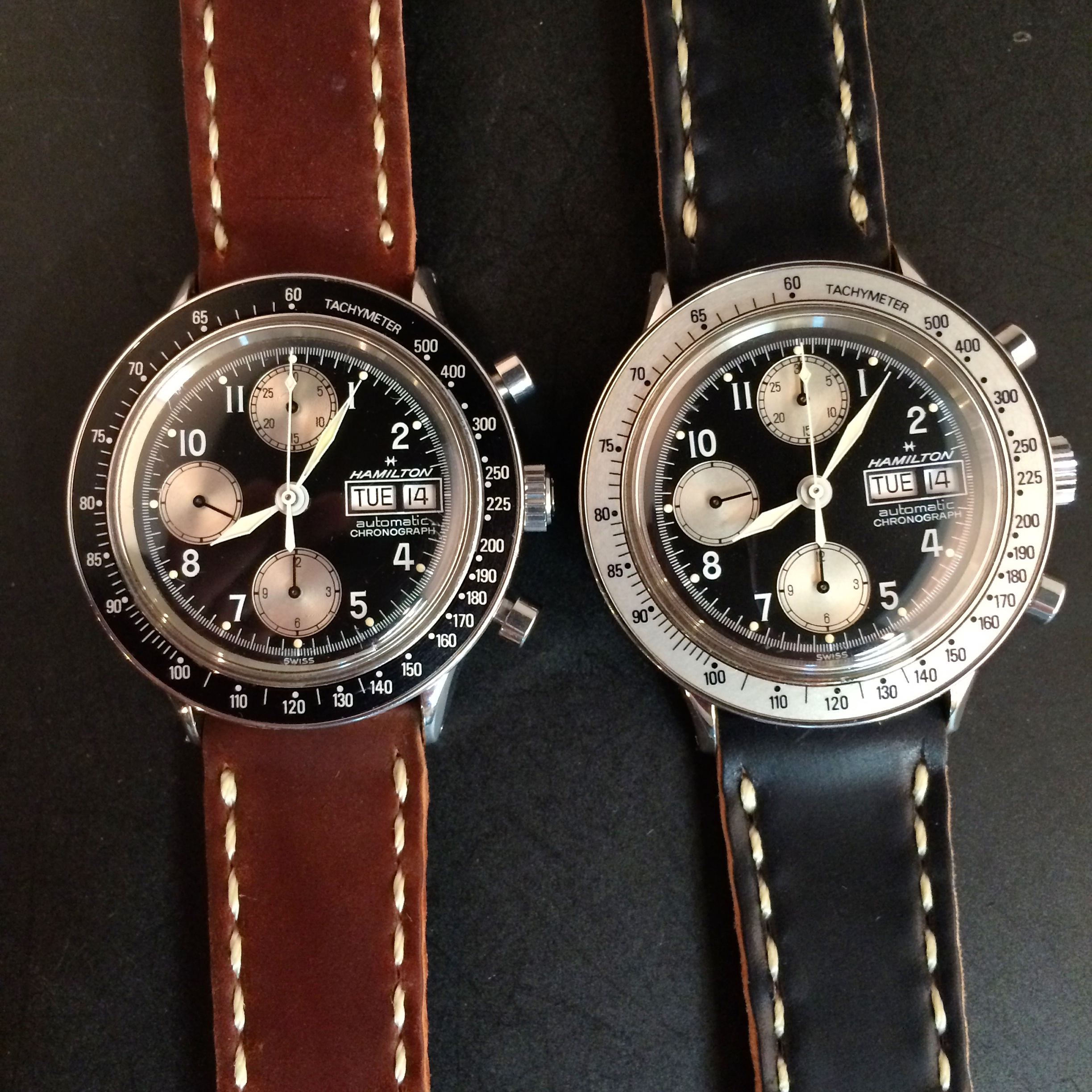A pair of Hamilton 9379's, with complimentary bezels. Alas, I have released the black bezeled watch back into the wild.