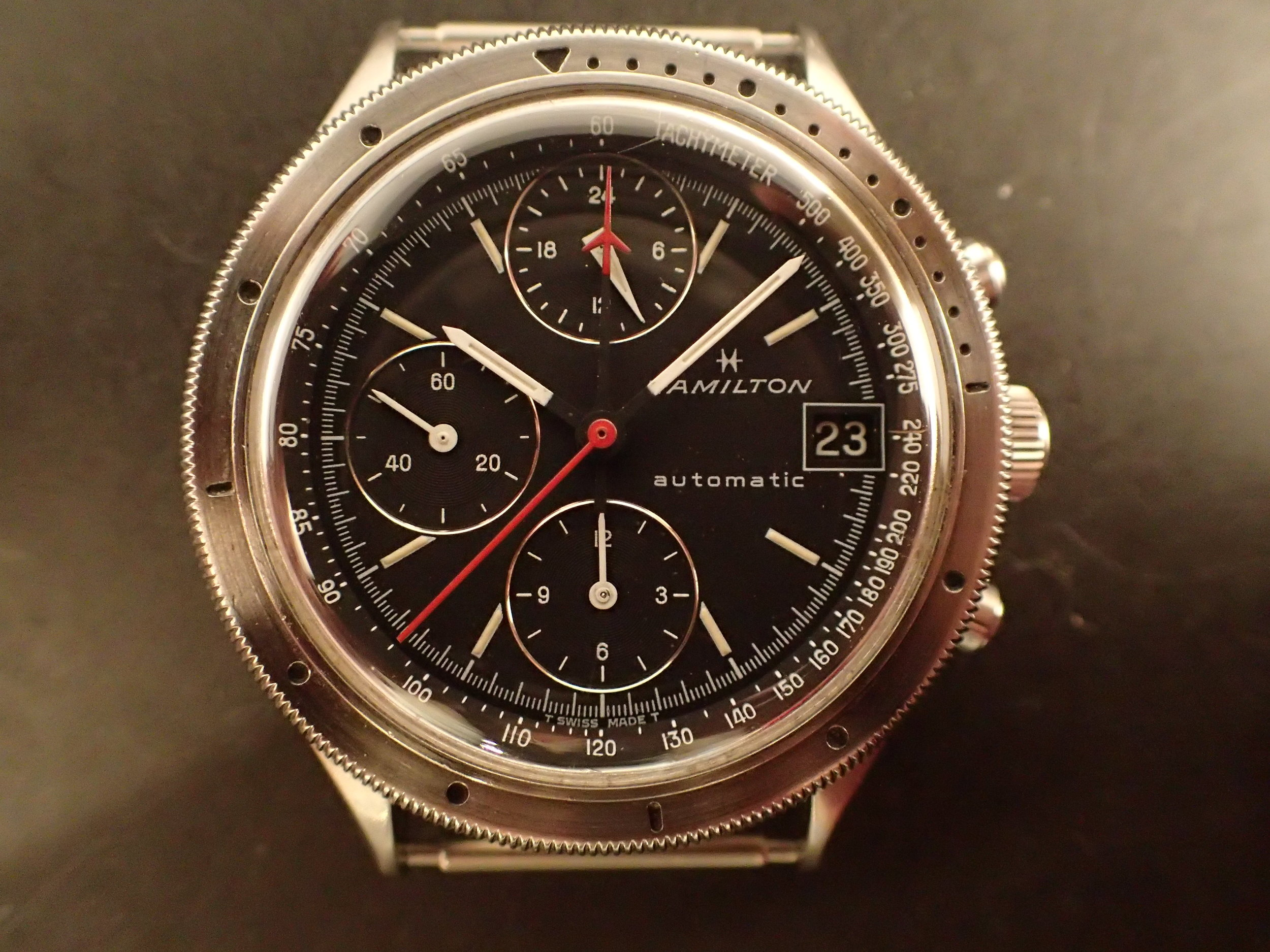 The Hamilton HTC, seen in a wide variety of dials and colors.