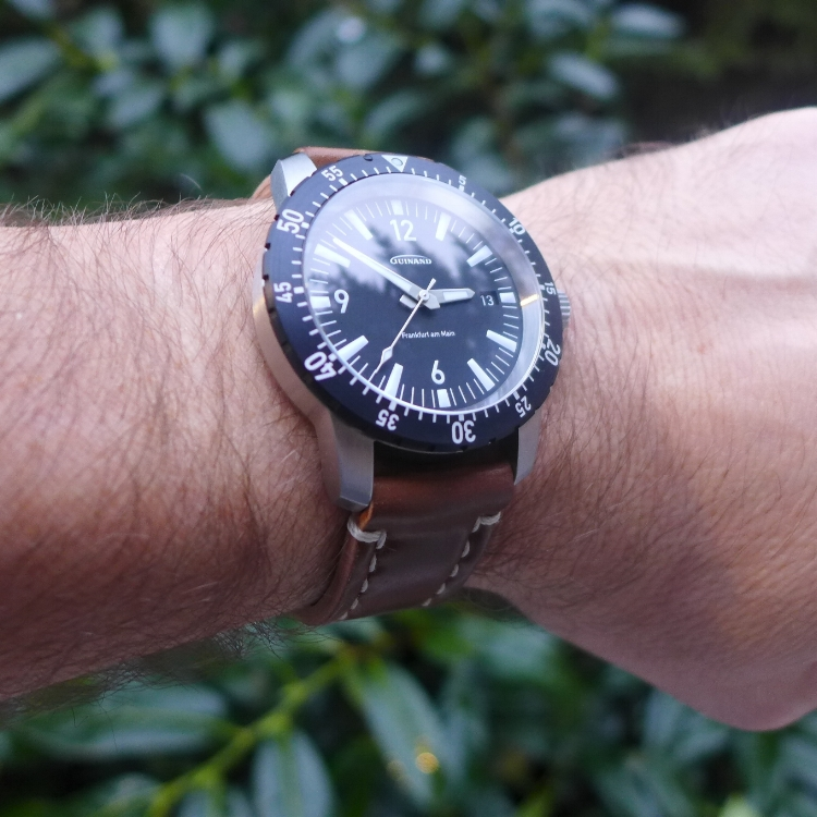 The Guinand A Schild Flieger on an Arts & Crafts. This watch is a new classic, and a Rover Haven favorite!