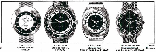 The Hamilton Aqua Diver, seen here in the 1973 catalog. Note the handset and crosshairs on the dial, and also the handset on the Pan Europ I next to it. Image courtesy of Nookster@VWF.