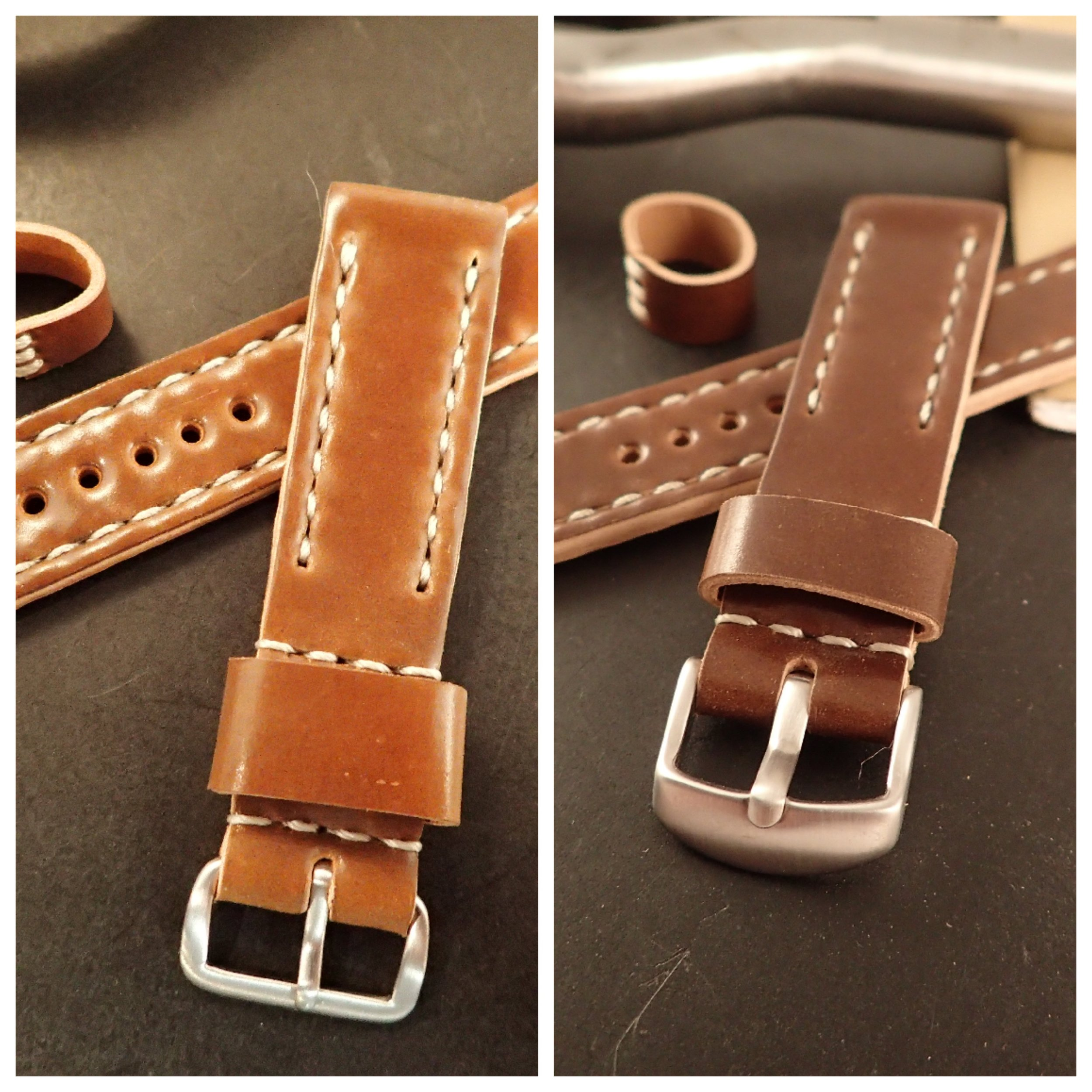 Your basic buckle choices are sewn-in-place NATO-style (left) and removable Crescent-style (right). Both are available in polished or brushed finishes.