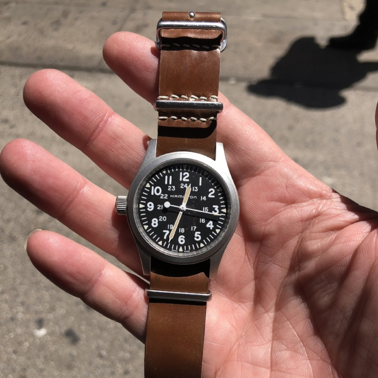 Hamilton hand-wound MIL-W re-issue on MIL strap. Note the rare destro conversion -- way to make it your own!