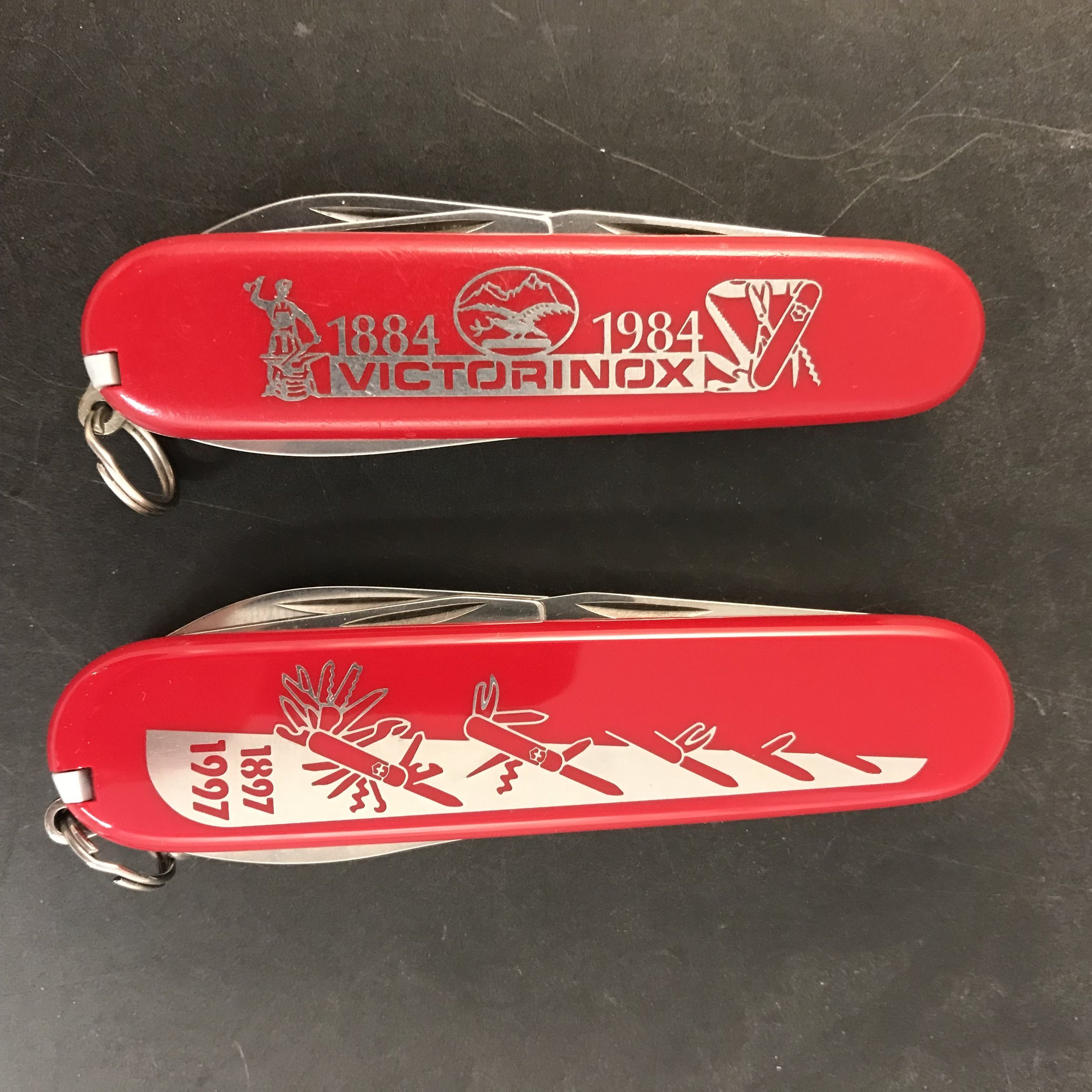 This 84 mm Tinker (top) is celebrating the centennial of the Victorinox company.  The Spartan (bottom) observes the 100th anniversary of the Officer's Knife.