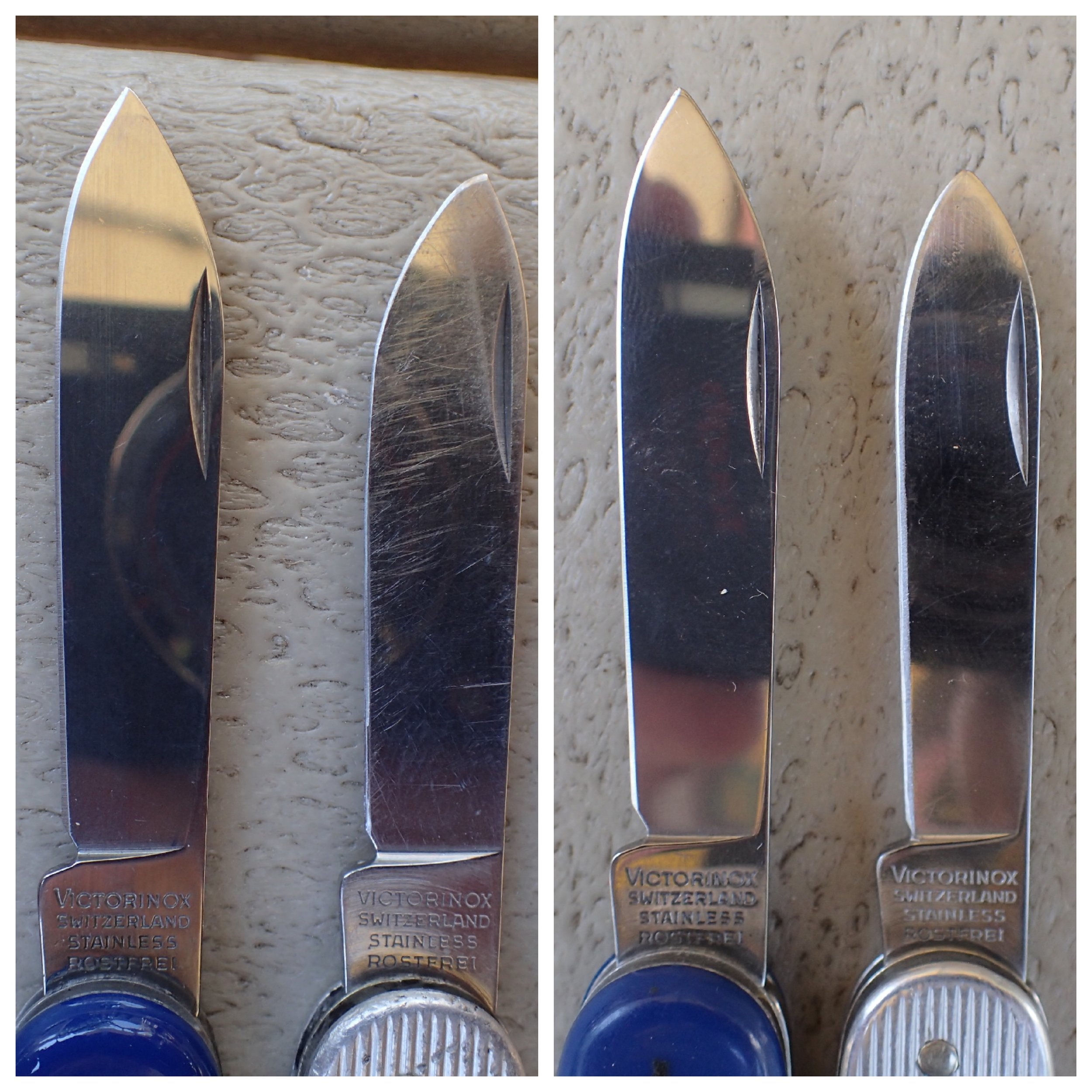Donor blades (left) and original, drastically re-profiled blades. Both pairs of blades used to be the same size!