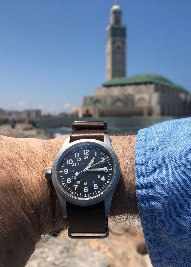 Hamilton MIL-W reissue on a shell NATO, enjoying the sights in Morocco. What a pairing!