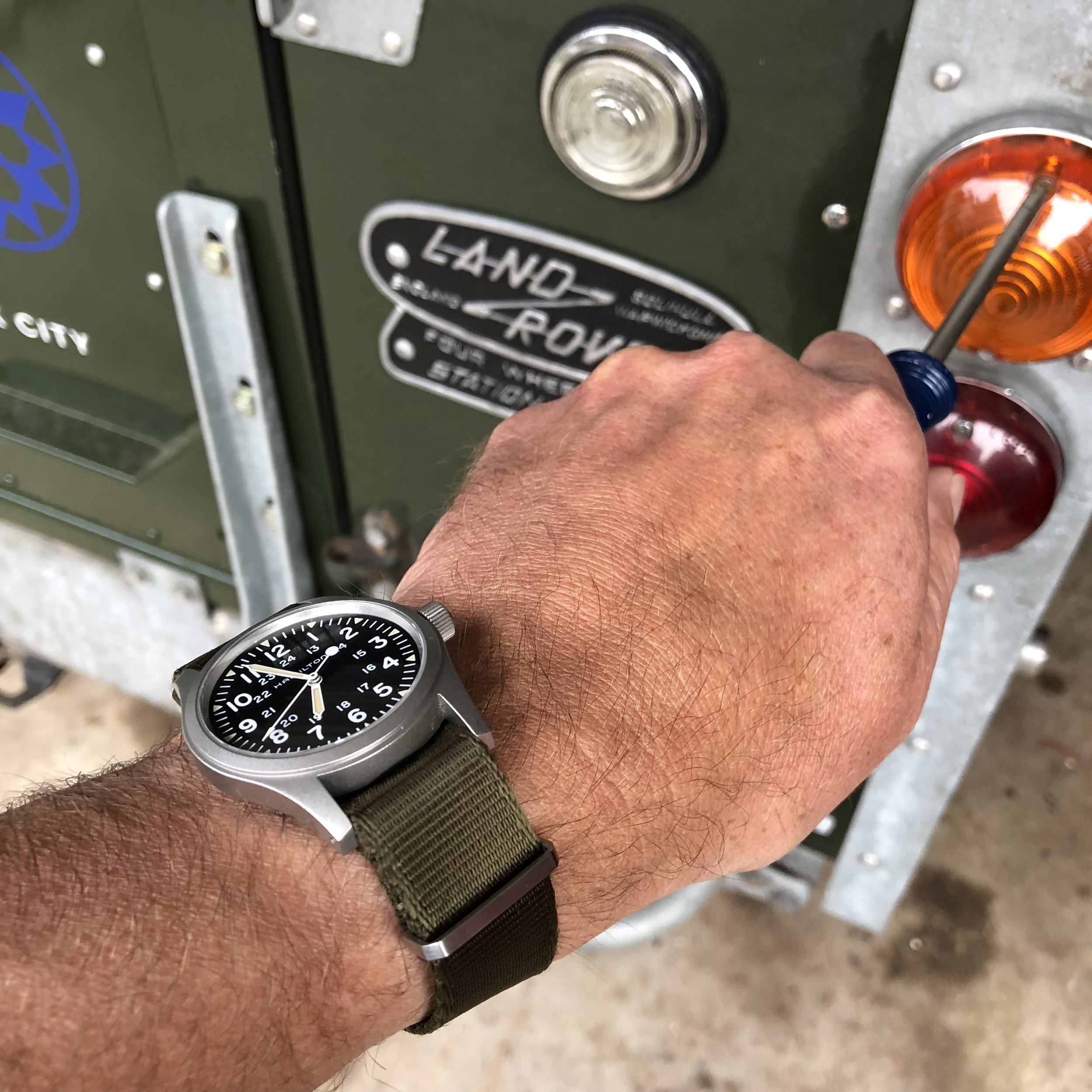 The thin profile makes the Khaki Field no-date a perfect wrenching watch.